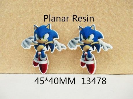 5 x 40mm SONIC THE HEDGEHOG LASER CUT FLAT BACK RESIN HEADBANDS HAIR BOWS CRAFTS